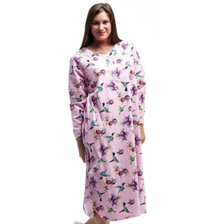 La Cera Women's Cotton Printed Hummingbird Nightshirt