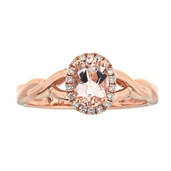 Anika and August 10k Rose Gold Morganite and 1/10ct TDW Diamond Ring (G-H, I1-I2)