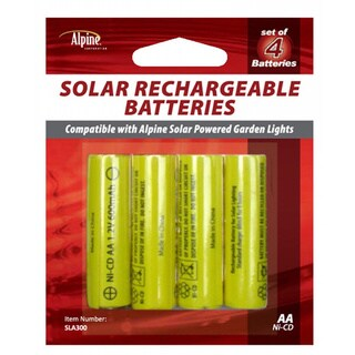 Alpine Solar Rechargeable AA Batteries (Pack of 4)