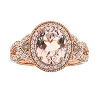 Anika and August 10k Rose Gold Morganite and 2/5ct TDW Brown Diamond Ring