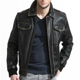 Men's Black Leather Distressed Bomber Jacket