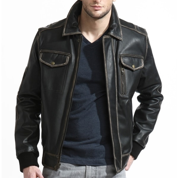 Men's Black Leather Distressed Bomber Jacket