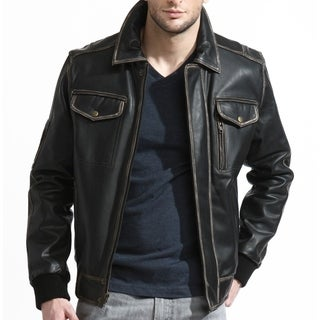 Men's Black Leather Bomber Jacket with Distressed Finish