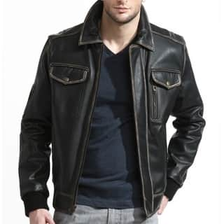 Men's Black Leather Distressed Bomber Jacket|https://ak1.ostkcdn.com/images/products/12922263/P19676208.jpg?impolicy=medium