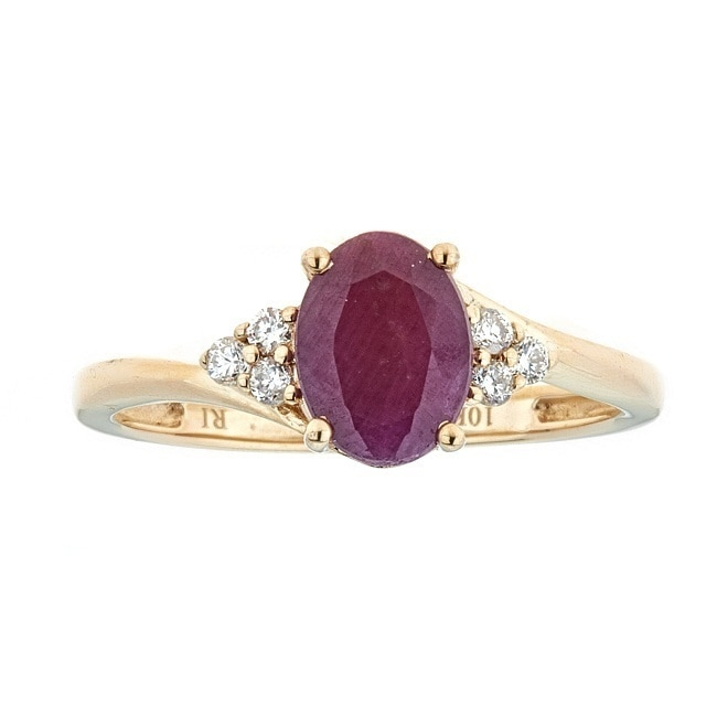 Anika and August 10k Yellow Gold Indian Ruby and 1/8ct TD...