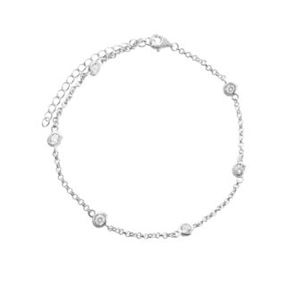 Sterling Silver Cubic Zirconia Link-chain Anklet