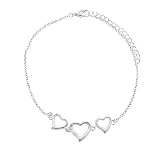 Sterling Silver Triple-heart Link-Chain Anklet