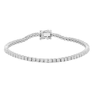 Sofia 10k White Gold 1ct TDW Diamond Tennis Bracelet (H-I, I2)