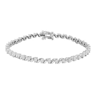Sofia 10k White Gold 3/4ct TDW Diamond S Link Tennis Bracelet (H-I, I2)