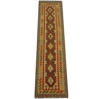 Herat Oriental Afghan Hand-woven Vegetable Dye Tribal Wool Mimana Kilim Runner (2'7 x 9'10)