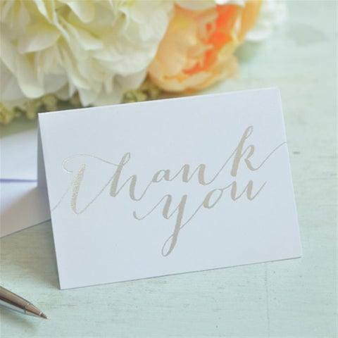 Silver-tone Foil Thank You Cards (Case of 50)