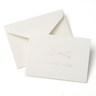 Heart and Arrow Gold-tone Foil Thank You Cards (Case of 50)