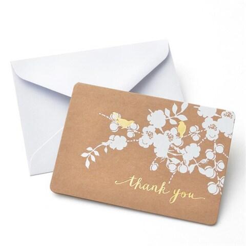 Foil Bird on Kraft Thank You Cards (Case of 50)