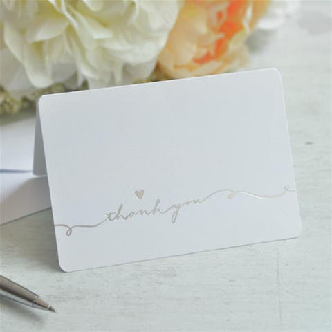 Silver Script Thank You Cards (Case of 50)