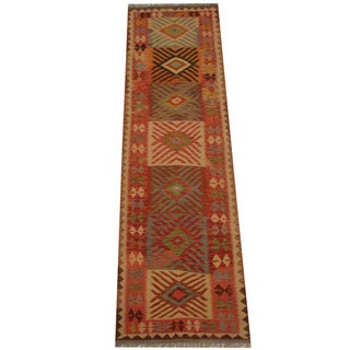 Herat Oriental Afghan Hand-woven Vegetable Dye Tribal Wool Mimana Kilim Runner (2'10 x 9'10)