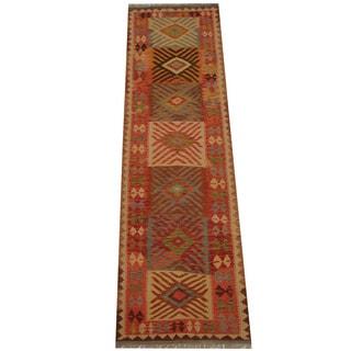 Herat Oriental Afghan Hand-woven Vegetable Dye Tribal Wool Mimana Kilim Runner (2'10 x 9'10)
