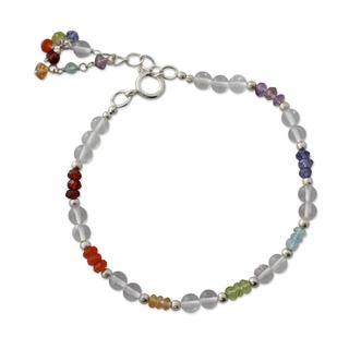 Handmade Sterling Silver 'Inner Serenity' Multi-gemstone Bracelet (India)