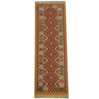 Herat Oriental Afghan Hand-woven Tribal Vegetable Dye Mimana Kilim Runner (2'7 x 7'9)