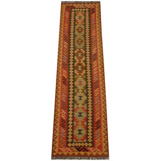 Herat Oriental Afghan Hand-woven Tribal Vegetable Dye Mimana Kilim Runner (2'9 x 9'11)