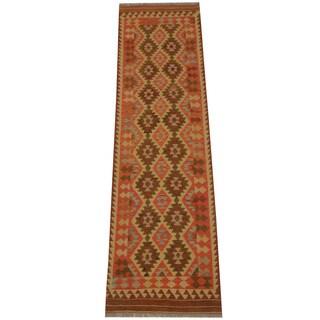 Herat Oriental Afghan Hand-woven Tribal Vegetable Dye Mimana Kilim Runner (2'8 x 9'7)