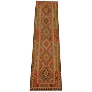 Herat Oriental Afghan Hand-woven Vegetable Dye Tribal Wool Mimana Kilim Runner (2'8 x 9'8)