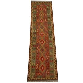 Herat Oriental Afghan Hand-woven Vegetable Dye Tribal Wool Mimana Kilim Runner (2'8 x 9'6)