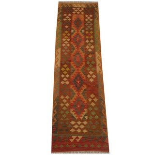 Herat Oriental Afghan Hand-woven Vegetable Dye Tribal Wool Mimana Kilim Runner (2'8 x 9'7)