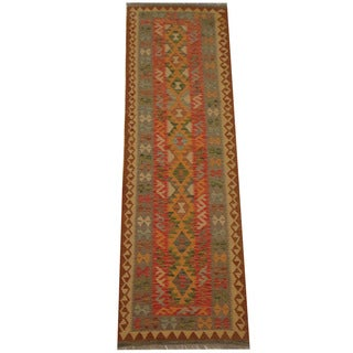 Herat Oriental Afghan Hand-woven Tribal Vegetable Dye Mimana Kilim Runner (2'10 x 9'2)