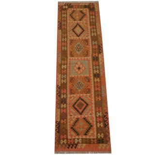 Herat Oriental Afghan Hand-woven Vegetable Dye Tribal Wool Mimana Kilim Runner (2'7 x 8'5)