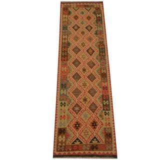Herat Oriental Afghan Hand-woven Vegetable Dye Tribal Wool Mimana Kilim Runner (2'11 x 9'9)
