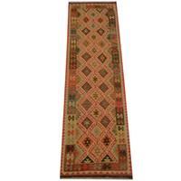 Handmade Herat Oriental Afghan Vegetable Dye Tribal Wool Mimana Kilim Runner  - 2'11 x 9'9 (Afghanistan)
