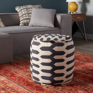 Zipper Stripe Pouf - Round