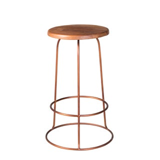 Copper Ring Teak Top Counter Stool