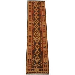 Herat Oriental Afghan Hand-woven Vegetable Dye Tribal Wool Mimana Kilim Runner (2'5 x 9'7)