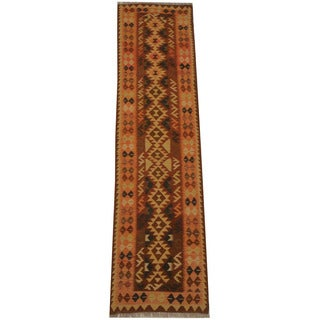 Herat Oriental Afghan Hand-woven Tribal Vegetable Dye Mimana Kilim Runner (2'5 x 9'7)