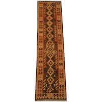 Handmade Herat Oriental Afghan Vegetable Dye Tribal Wool Mimana Kilim Runner  - 2'5 x 9'7 (Afghanistan)