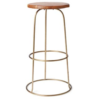 Brass Ring Teak Top Bar Stool