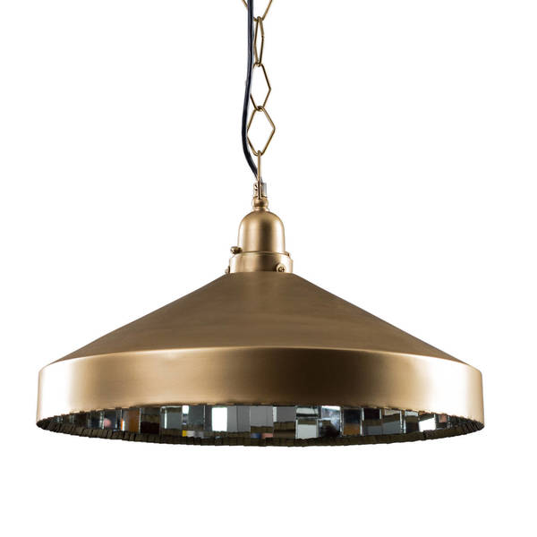 "CG Sparks Handmade Mirrored Brass Pendant Light Hardwire 20"" Dia. (India)"