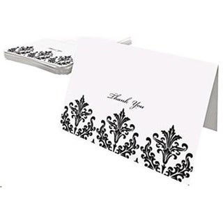 White and Black Damask Thank You Cards (Case of 50)