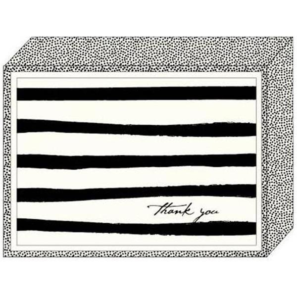Black and White Stripe Thank You Cards (Case of 15)