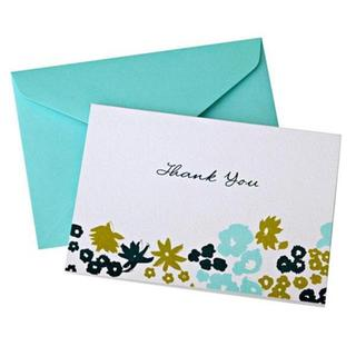 Blue/Green Floral Thank You Cards (Case of 50)