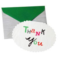 Woodgrain Diecut Oval Thank You Cards (Pack of 10)