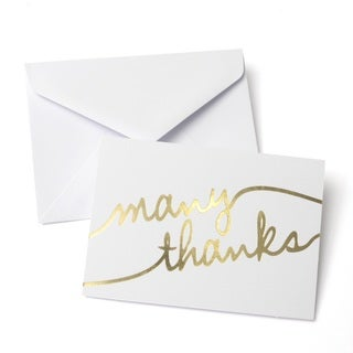Gold Foil 'Many Thanks' Thank You Cards (Case of 50)