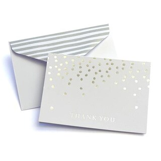 Silver Foil Dots Thank You Cards (Case of 24)