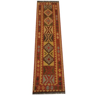 Herat Oriental Afghan Hand-woven Tribal Vegetable Dye Mimana Kilim Runner (2'7 x 10')
