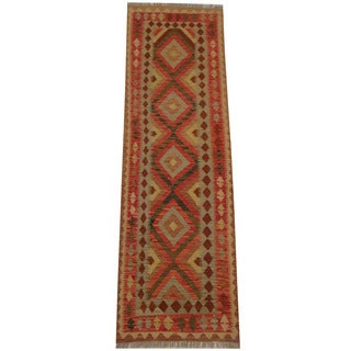 Herat Oriental Afghan Hand-woven Tribal Vegetable Dye Mimana Kilim Runner (2'7 x 8'6)