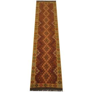 Herat Oriental Afghan Hand-woven Vegetable Dye Tribal Wool Mimana Kilim Runner (2'9 x 10'11)