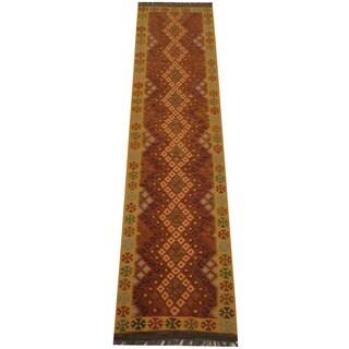 Herat Oriental Afghan Hand-woven Tribal Vegetable Dye Mimana Kilim Runner (2'9 x 10'11)