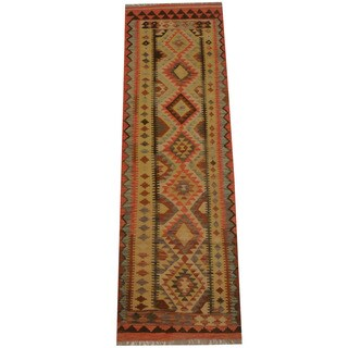 Herat Oriental Afghan Hand-woven Tribal Vegetable Dye Mimana Kilim Runner (2'7 x 8'3)