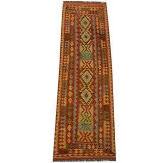 Herat Oriental Afghan Hand-woven Vegetable Dye Tribal Wool Mimana Kilim Runner (2'11 x 9'4)